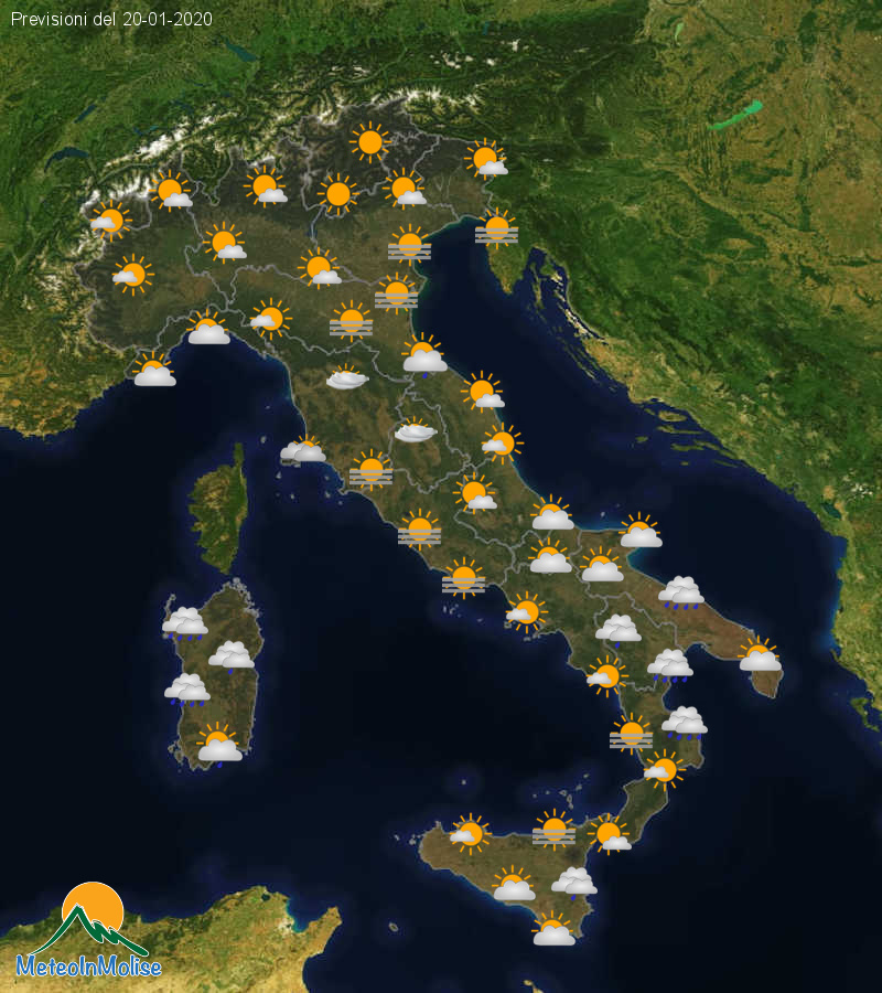 Previsioni Meteo Italia 19-01-2020